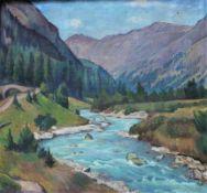 "Gemälde - Clara RÜHLE (1885 Stuttgart -1947 Hayingen) ""Gebirgsbach in Val Bever Engadin ("