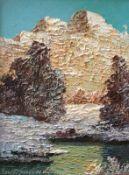"Gemälde - Prof. Arnold Graboné (1896 München - 1981 Percha-Buchhof) "" Wintersonne im Inntal "", l."