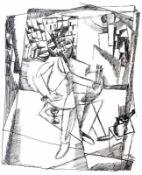 """Lithographie- Josef Achmann (1885 Regensburg - 1958 Schliersee) """"Selbstbildnis"""", Plattensignatur und"""