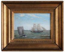 "Gemälde - wohl Skandinavien um 1900 ""Meerlandschaft mit Segelbooten"", r.u. signiert Kristoffersen,"