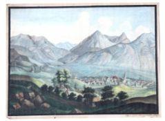 """Aquarell - Biedermeier 1822 """"Süddeutsche Vorgebirgslandschaft mit Ortschaft und Personenstaffage"""","""