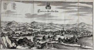 """Kupferstich - Caspar Merian (1627 Frankfurt a.M. - 1686 Schloss Waltha) """"Cham aus der Sicht von"""