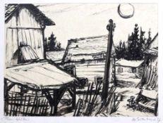 "Aquarell- Hermann Erbe-Vogel (1907 Hof an der Saale - 1976 Freyung) ""Flanitzhütte (Freyung-"