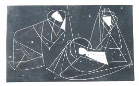 """Serigrafie - Will Ulfig (1910 Breslau - 1983 Regensburg) """"Heilige Familie"""", 1957, Passepartout mit"""