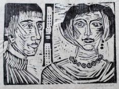 """Holzschnitt - Wolf Hirtreiter (1922 Zwiesel - 2014 Gröbenzell) """"Paar"""", r.u. Bleistiftsignatur,"""