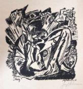 """Lithographie - Josef Achmann (1885 Regensburg - 1958 Schliersee) """"Krieg"""", r.u. Bleistiftsignatur,"""