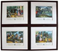 "Vier Kreidelithographien - Jean Fréderic WENTZEL (1807-1869 Wissembourg / Elsass) ""Hasenjagd,"