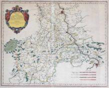 """Kupferstich - Nicolas Sanson (1600 Abbeville - 1667 Paris) """"Archevesche de Cologne - Rheinlauf von"""