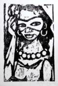 """Holzschnitt - Hermann Erbe-Vogel (1907 Hof an der Saale - 1976 Freyung) """"Mädchen mit Maske"""", r.u."""