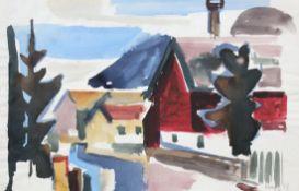 """Aquarell - Willi Ulfig (1910 Breslau - 1983 Regensburg) """"Landschaft"""", r.u. signiert und datiert ("""