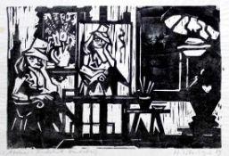 """Linolschnitt - Hermann Erbe-Vogel (1907 Hof an der Saale - 1976 Freyung) """"Atelier"""", r.u."""
