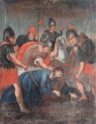 "Gemälde - 18.Jahrhundert ""Kreuzwegstation"", anonymer Künstler, Öl auf Leinwand, Altersspuren, Maße"
