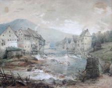 "Aquarell - Wilhelm PILGRAM (1814 Stuttgart 1889) ""Bad Wildbad in Baden - Württemberg"", r.u."