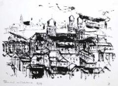 """Siebdruck - Otto Sammer (1914 Schwabach - 2004 Passau) """"Passau"""", r.u. Bleistiftmonogramm, Nr. 29/67,"""