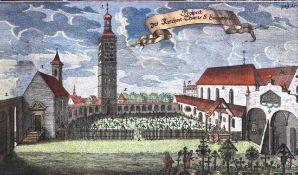 """Kupferstich aus dem 18.Jahrhundert """"Prospekt des Kirchenturm S. Emmeram in Regensburg"""", koloriert,"""