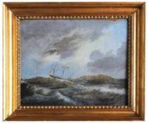 """Gemälde - wohl Dänemark 19.Jahrhundert """"Bewegte See mit Dreimaster"""", unsigniert, rückseitig"""