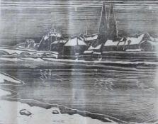 """Holzschnitt - Otto Baumann (Regensburg 1901 - 1992) """"Stadtansicht Regensburg"""", Monogramm mit"""