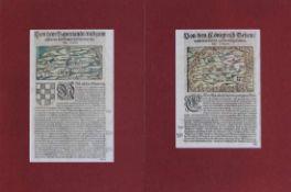 """Paar Holzschnitte - Sebastian Münster (1488 Nieder-Ingelheim - 1552 Basel) """"Bayern und Böhmen"""", aus:"""
