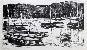 """Holzschnitt - Hermann Erbe-Vogel (1907 Hof an der Saale - 1976 Freyung) """"Bergsee"""", r.u."""