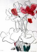 """Lithographie - Oskar Koller (1925 Erlangen - 17.5.2004 Fürth) """"Blumen"""", r.u. mit Bleistift"""