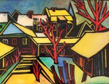 """Hinterglasbild - Helmut Eckl (1925 Regensburg - 1977 Wald/Obb.) """"Wintertal"""", r.u. monogrammiert,"""