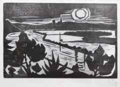 "Holzschnitt - Otto Baumann (Regensburg 1901 - 1992) ""Donaulandschaft"", r.u. monogrammiert,"
