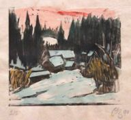 "Holzschnitt - Otto Baumann (Regensburg 1901 - 1992) ""Winterlandschaft"", r.u. monogrammiert,"
