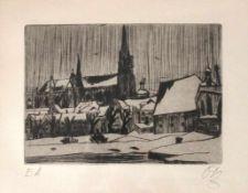 "Radierung - Otto Baumann (Regensburg 1901 - 1992) ""Regensburg"", r.u. monogrammiert, Nr. E.A, Maße"