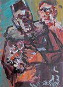 """Mischtechnik - Rupert Preissl (1925 Eitlbrunn bei Regensburg - 2003) """"Clowns"""", r.u. signiert,"""