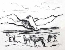 """Zeichnung - Franz Heckendorf (1888 Berlin - 1962 München) """"Pferde in Berglandschaft"""", r.u."""