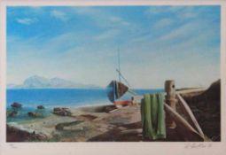 """Lithographie - Rudolf Distler (1946 Unterkirchberg bei Ulm) """"Italienische Landschaft mit"""
