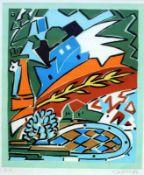 """Serigraphie - Udo Kaller (1943 Gleiwitz) """"Abstrakte Landschaft"""", r.u. Bleistiftsignatur, Nr. E.A,"""