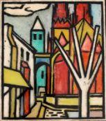 """Hinterglasbild - Helmut Eckl (1925 Regensburg - 1977 Wald/Obb.) """"Regensburg"""", r.u. monogrammiert,"""