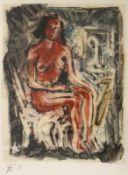 """Aquarell- Helmut Eckl (1925 Regensburg - 1977 Wald/Obb.) """"Sitzender Akt"""", r.u. monogrammiert,"""