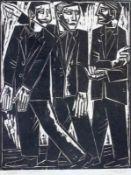 """Holzschnitt - Josef Georg Miller (1905 Augsburg - 1983 Kallmünz) """"Drei Figuren"""", r.u."""
