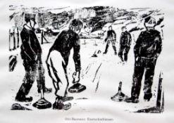 """Grafik - Otto Baumann (Regensburg 1901 - 1992) """"Eisstockschießen"""", Maße Darstellung ca. 16x23,5"""