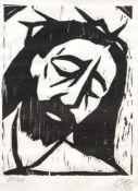 """Holzschnitt - Otto Baumann (Regensburg 1901 - 1992) """"Jesus"""", r.u. monogrammiert, Nr.24/28,"""