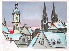 """Siebdruck - Otto Baumann (Regensburg 1901 - 1992) """"Regensburg im Winter"""", l.u. monogrammiert,"""
