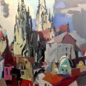 """Gemälde - ein Hauptwerk von Willi Ulfig (1910 Breslau - 1983 Regensburg) """"Stadtansicht Regensburg"""