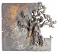 """Relief - Günter Mauermann (1938) """"..Enkelin und Katze"""", Bronze, Maße ca. 24x27 cm, vgl. Vita: 1957-"""