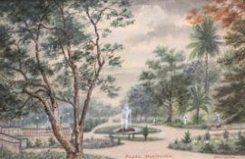 "Aquarell - wohl Albert Müller (1884 Schwandorf -1963 Bremen) ""Prado Montevideo"", r.u. signiert,"