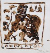 "Aquarell - Josef Oberberger (1905 Regensburg - 1994 Kreuth) ""Löwenjagd"", r.u. monogrammiert, datiert"