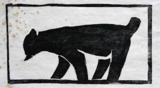 """Holzschnitt - Heinz Theuerjahr (1913 Stolp - 1991 Waldhäuser) """"Luchs"""", unsigniert, Stockflecken,"""