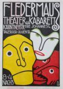 """Farblithographie als Plakat - Bertold LÖFFLER (1874 Nieder-Rosenthal -1960 Wien) """"Fledermaus Theater"""