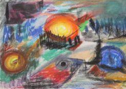 """Zeichnung - Willi Ulfig (1910 Breslau - 1983 Regensburg) """"Landschaft"""", rückseitig Nachlaßstempel,"""