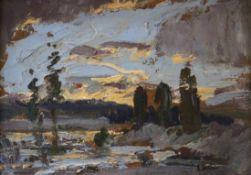 """Gemälde - Prof. Hans Heider (1861 Trippach bei Weiden - 1947 Tegernsee) """"Landschaft mit Föhnhimmel"""","""