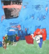 """Collage - Renate Christin (XX./XXI.Jahrhundert Regensburg) """"Ohne Titel"""", l.u. signiert, datiert ("""