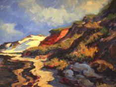 """Gemälde - Günther Petersen (1920 Westerland/Sylt - 2014) """"Morsum-Kliff im Osten der Insel Sylt"""", r."""