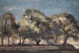 """Gemälde - Fritz Hülsmann (1894 Solingen - 1949 Weiden) """"Naablandschaft"""", l.u. signiert, Öl auf"""