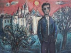 """Gemälde - Alfons Maria Bauer (1912 Arrach bei Falkenstein - 1998) """" Junge vor Dom """", r.u.signiert"""